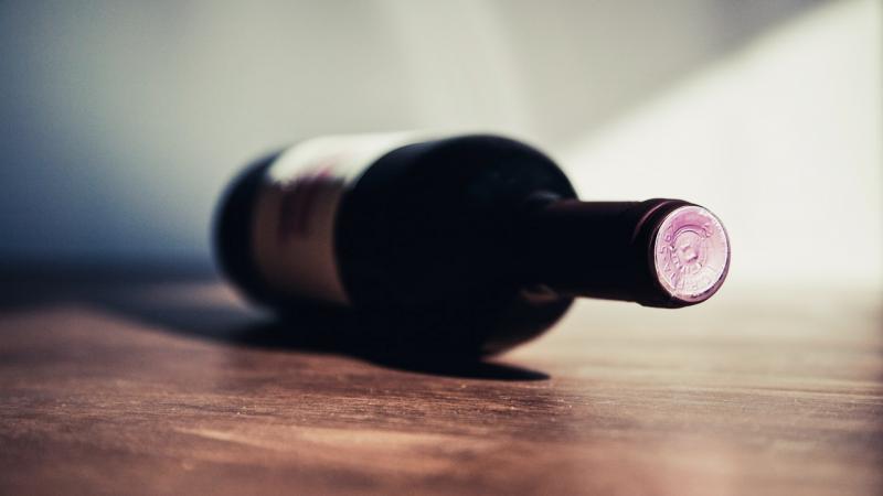 Wine bottle on counter